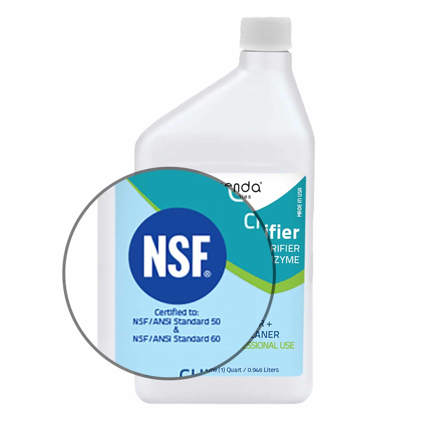 CE-clarifier, orenda clarifier, best pool clarifier, natural pool clarifier, NSF pool clarifier, NSF certified, natural pool chemical