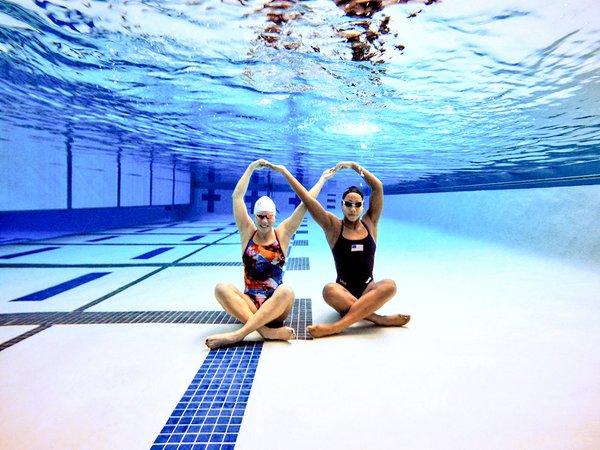 Female Elite Swimmers on bottom