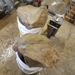 calcium phosphate, hard calcium phosphate, hard filter sand, sand filter hardened, rock hard filter sand
