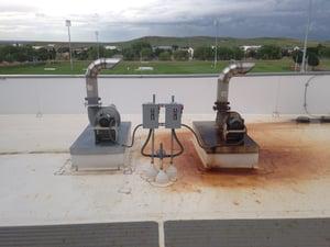chloramine damage, natatorium exhaust fan, pool pump room exhaust fan, chloramine corrosion