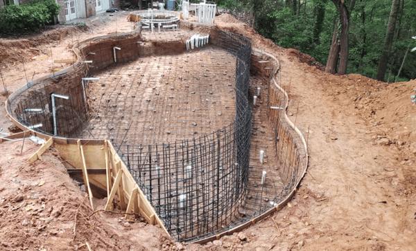 SSG pools, concrete pool shell, swimming pool rebar, swimming pool construction