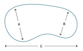 volumen de la piscina en forma de riñón