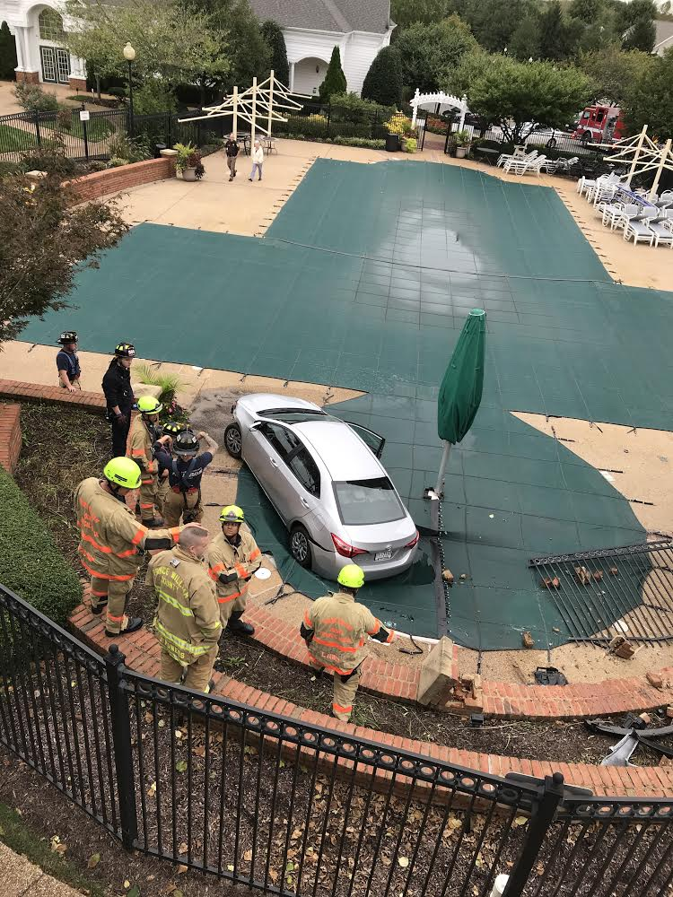 pool safety cover, car crash into pool, car in pool, car on pool cover