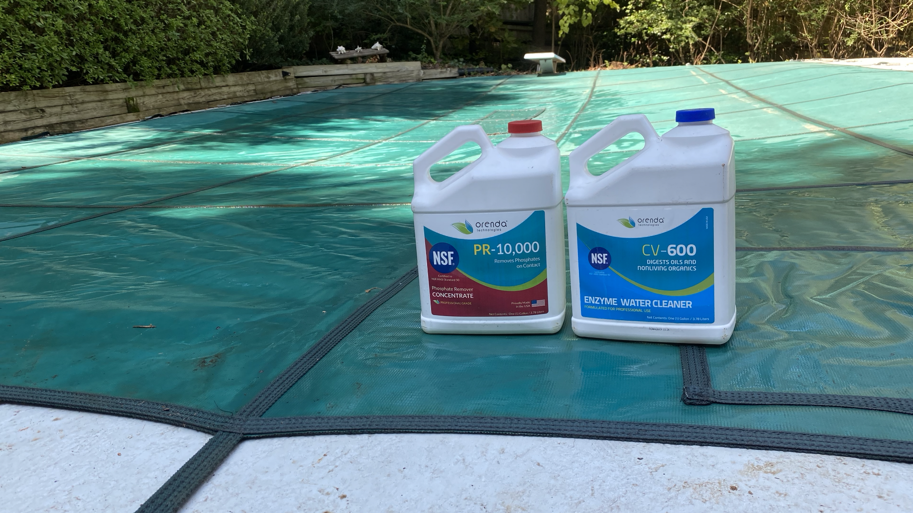 solid pool safety cover with orenda products, pool winterization cover, orenda winterizing kit