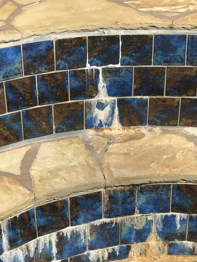spa efflorescence and waterproofing failure