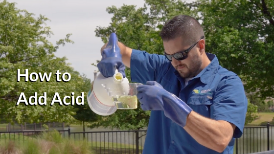 how to add acid to a swimming pool, how to lower pH and alkalinity, how to reduce alkalinity, column pour myth, is muriatic acid heavier than water?