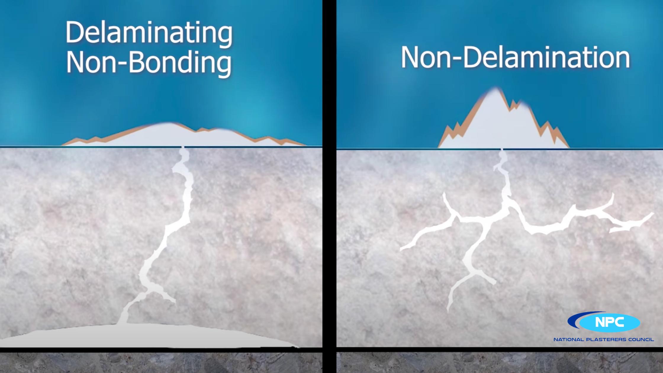 delaminating non-bonding vs non-delamination