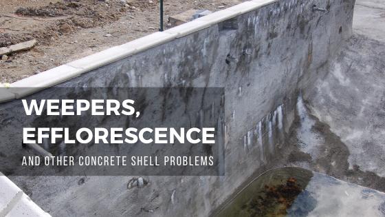 weepers, efflorescence, concrete pool shell, orenda, swimming pool leak, shotcrete pool